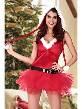 Red Belt-Decorated Pleated Lace Christmas Costume
