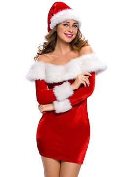 Slash Neck White Fur Hem Slim Santa Cosplay Christmas Costume