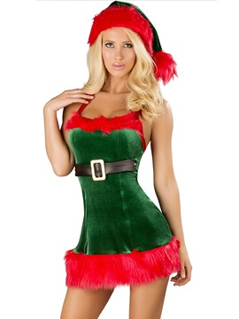 Color Block Patchwork Halter Christmas Costume