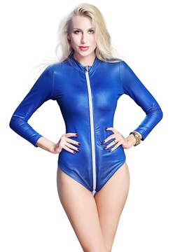 Zipper Tight Wrap Patent Leather Bodysuit