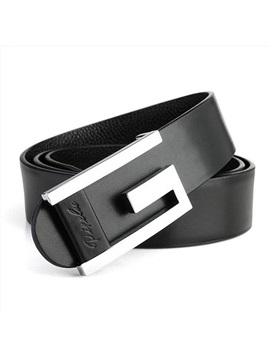 Smooth Buckle Type Leather Men's Belt