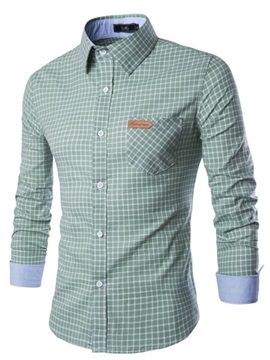 Mini Plaid Front Pocket Men's Cotton Blend Shirt