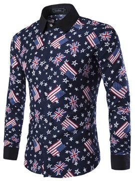 National Flag Printed Single-Breasted Men's Shirt