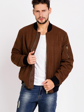 Zipper Stand Color Men's Causal Bomber Jacket