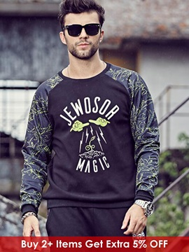 Patchwork Letter Printed Men's Casual Long Sleeve Hoodie