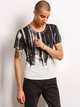 Straight Color Block Printed Men's Casual T-Shirt