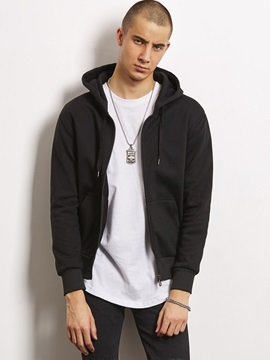Euroamerica Simple Zipper Casual Men's Hoodie