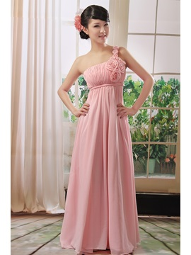Hot Selling Flowers One Shoulder Floor Length A-Line Bridesmaid Dress & Faster Shipping Sale on sale