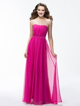 Simple Strapless A-Line Ruched Zipper-up Long Bridesmaid Dress & fashion Faster Shipping Sale