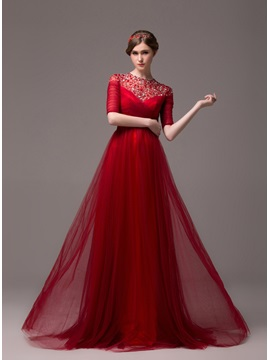 Vintage A-Line Jewel Neck Beading Half Sleeves Lace-up Long Evening Dress & Faster Shipping Sale under 300