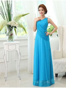 Classic Floor Length Sleeveless One Shoulder Ruffles Bridesmaid Dress & discount Faster Shipping Sale