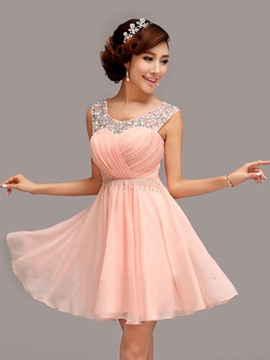 Modern Scoop Neck A-Line Pleats Beading Short Homecoming Dress & colored Faster Shipping Sale