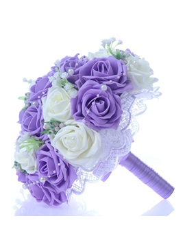 Best Lace Pearl White/Purple Rose Starry Sky Wedding Bouquet & Faster Shipping Sale under 300