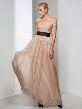 Elegant Off-the-Shoulder Half Sleeves Pleats A-line Long Evening Dress & formal Faster Shipping Sale