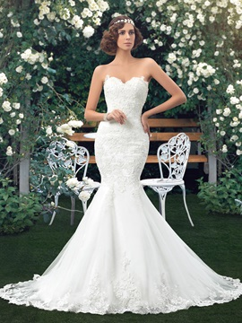 Sweetheart Lace Appliques Lace-Up Mermaid Wedding Dress (Including the Crystal Belt) & Faster Shipping Sale under 300