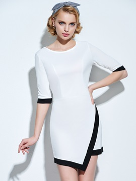 Asymmetric Color Block Half Sleeve Women's Bodycon Dress