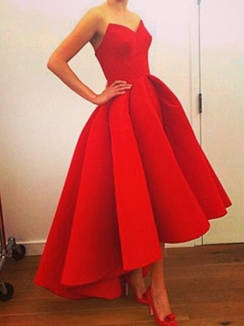 Real Pictures Strapless A-Line High Low Red Prom Dress & Faster Shipping Sale under 300