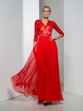 Ladylike V-Neck Sequined A-Line Half Sleeves Red Evening Dress & fairytale Faster Shipping Sale