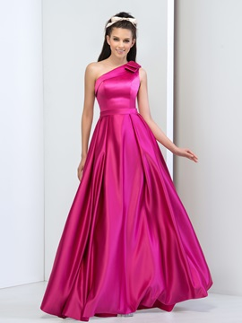 Simple One Shoulder Bowknot A-Line Long Prom Dress & vintage style Faster Shipping Sale