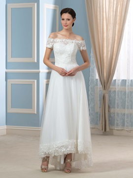 Off-The-Shoulder Tulle Lace A-Line Asymmetry Wedding Dress & Faster Shipping Sale online