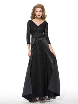 A-Line V-Neck 3/4 Length Sleeve Plus Size Mother of the Bride Dress & Faster Shipping Sale on sale