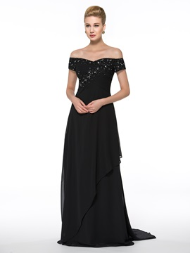 Off-The-Shoulder Lace Chiffon Floor-Length Mother of the Bride Dress & simple Faster Shipping Sale