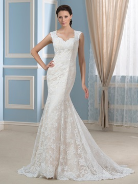 Square Neckline Trumpet/Mermaid Court Train Lace Wedding Dress & attractive Faster Shipping Sale