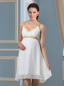 Lace V-Neck Knee-Length Chiffon Short Pregnant Wedding Dress & unique Faster Shipping Sale