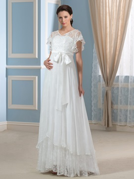 30D Chiffon V-Neck Beaded A-Line Pregnancy Wedding Dress & Faster Shipping Sale on sale