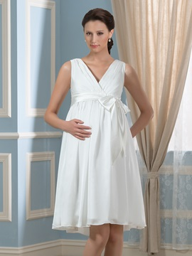 A line Sleeveless Empire Maternity Wedding Dress & inexpensive Faster Shipping Sale