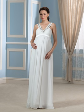 Beading V-Neck Floor-Length Empire Waist Pregnant Wedding Dress & Faster Shipping Sale under 300