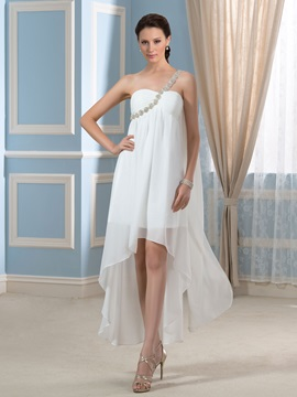 Asymmetry One-Shoulder Beading Chiffon Short Beach Pregnant Wedding Dress & Faster Shipping Sale 2012