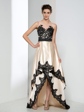 Amazing Sheer Neck Appliques Tiered High Low Evening Dress & Faster Shipping Sale under 500