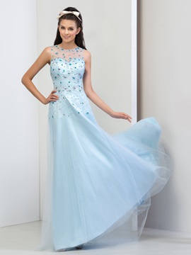 Luxurious Scoop Neck Beaded Crystal A-Line Long Prom Dress & Faster Shipping Sale 2012