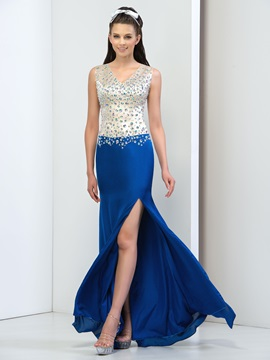 Graceful Backless V-Neck Sheath Crystal Long Prom Dress & Faster Shipping Sale for less