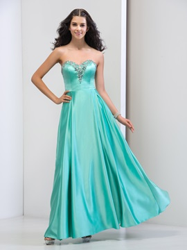 Attractive Sweetheart A-Line Beaded Crystal Long Prom Dress & modest Faster Shipping Sale