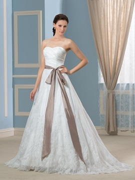 Floor Length A-Line Sweetheart Button Zip-up Court Train Wedding Dress & petite Faster Shipping Sale