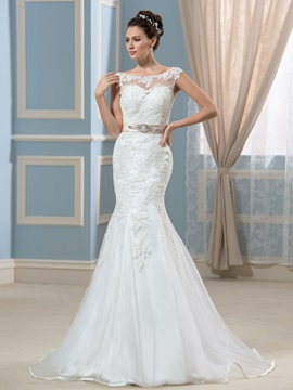 Lace Backless Beading Sash Mermaid Long Wedding Dress & fairytale Faster Shipping Sale