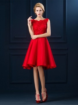 Pretty Straps A-Line Lace Bowknot Knee-Length Prom Dress & fashion Faster Shipping Sale