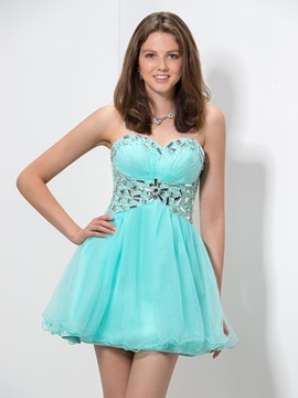 A-Line Sweetheart Beaded Empire Waist Short Homecoming Dress & Faster Shipping Sale under 300