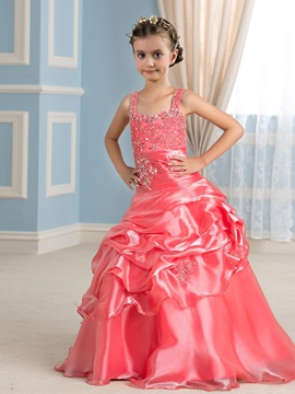 Pretty Spaghetti Straps Tiered Pick-ups Watermelon Red Flower Girl Dress & formal Faster Shipping Sale