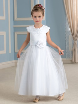 Fancy Lace Jewel Neck Flower White Flower Girl Dress & Faster Shipping Sale online