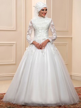 Muslim High Neck Long Sleeves Ball Gown Applique Arabic Wedding Dress & Faster Shipping Sale for less