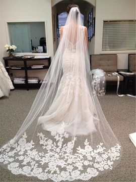 Floral Appliques Lace Chapel Long Wedding Veil & vintage Faster Shipping Sale
