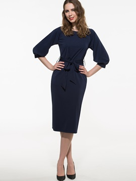 Pure Color Puff Sleeve Day Dress