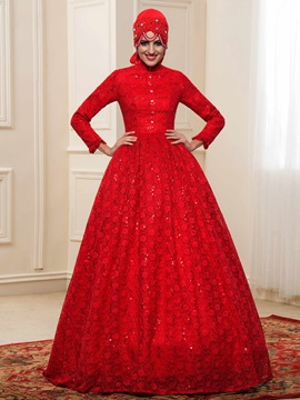 Charming High Neck Beaded Quality Lace Red Muslim Wedding Dress & fashion Faster Shipping Sale