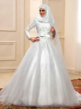 Sequin Beaded Lace High Neck Long Sleeve Muslim Wedding Dress & Faster Shipping Sale on sale
