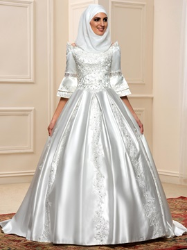Sequined Lace 3/4 Sleeves Lace Up Satin Arabic Wedding Dress & unusual Faster Shipping Sale