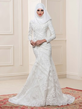 High Neck Lace Long Sleeve Mermaid Muslim Wedding Dress & simple Faster Shipping Sale