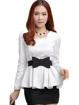 Lace Crochet Bow-knot Belt Work Blouse